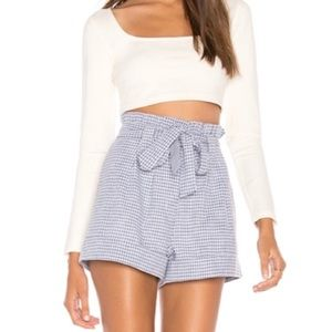 NEW J.O.A Blue Gingham Tie High Waisted Shorts